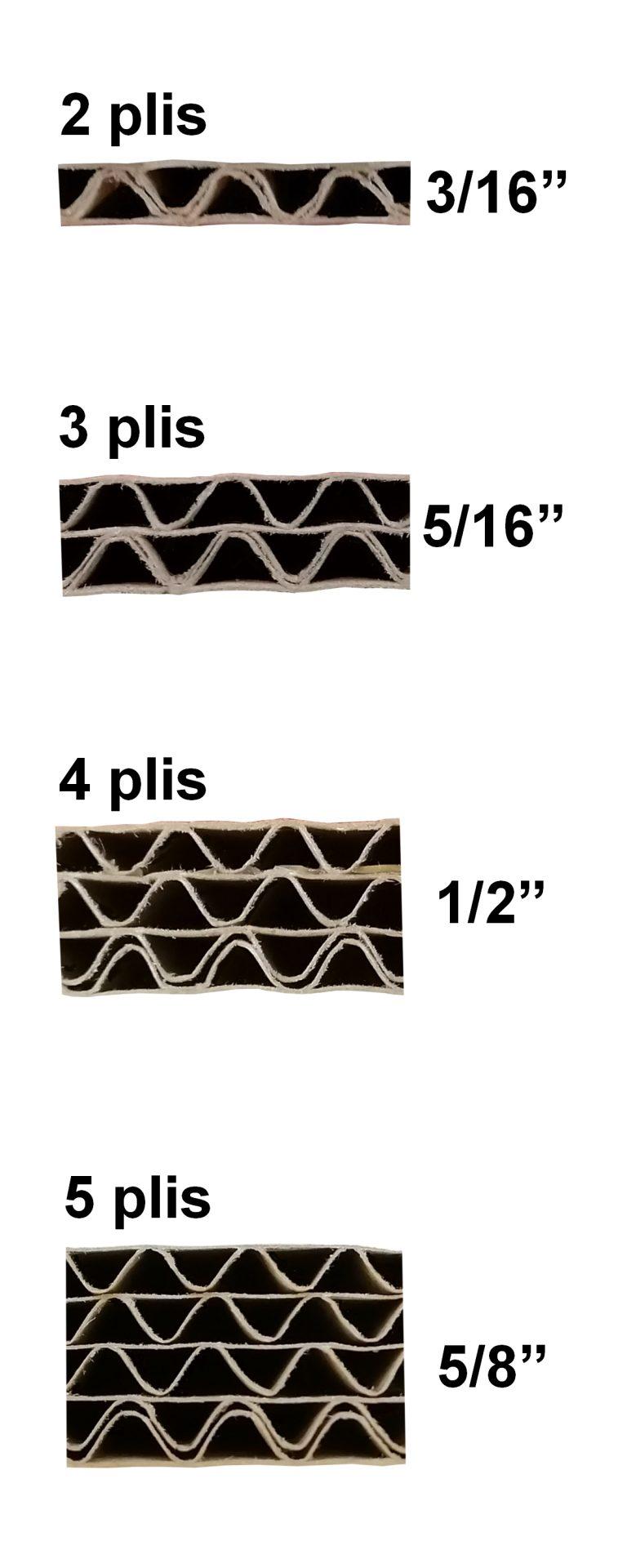 Épaisseurs 2, 3, 4 et 5 plis